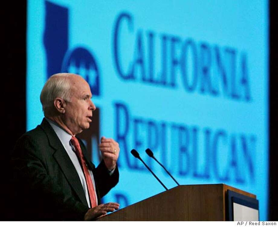 Presidential hopeful Sen. John McCain, R-Ariz., speaks at the California Republican Party convention in Indian Wells, Calif., Saturday, Sept. 8, 2007. (AP Photo/Reed Saxon) Photo: Reed Saxon