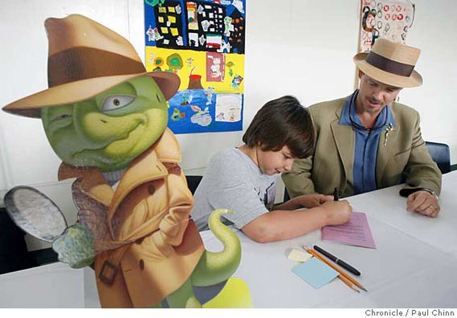 Bruce Hale (right) offers drawing tips to Gaby Bertero at the Children's Book Author and Illustrator Fair at Orion Elementary School in Redwood City, Calif. on 2/4/06. Hale, author and illustrator of the Chet Gecko (left) series of books, was one of the eight authors and illustrators that signed copies of their books and gave presentations detailing their career path towards children's books. PAUL CHINN/The Chronicle MANDATORY CREDIT FOR PHOTOG AND S.F. CHRONICLE/ - MAGS OUT Photo: PAUL CHINN