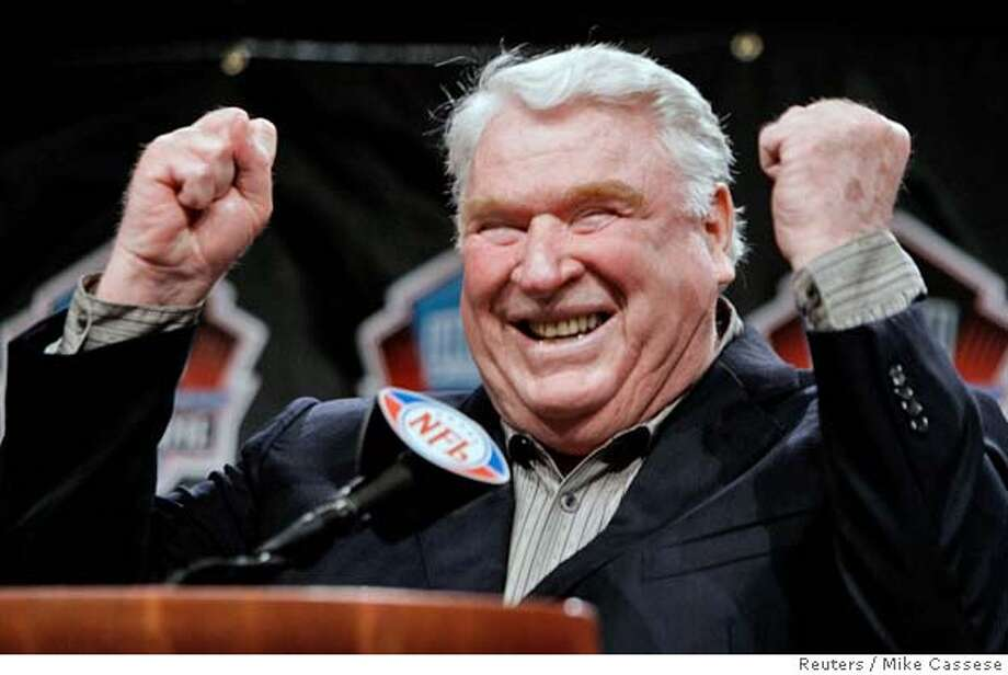 John Madden, former coach of the Oakland Raiders, celebrates after being named into the NFL Hall of Fame at a news conference in Detroit, Michigan February 4, 2006. REUTERS/Mike Cassese 0 Photo: MIKE CASSESE