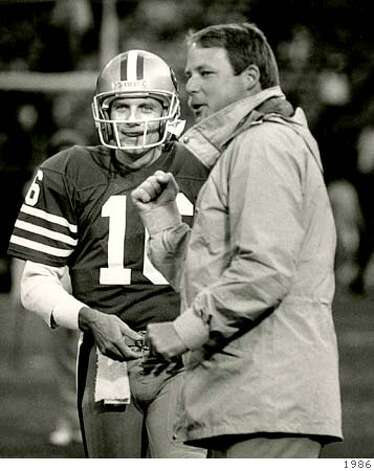 Seattle Seahawks Coach  Mike Holmgren as 49ers offensive coordinator with Joe Montana in 1986.  Dec. 19, 1986 Joe Rosenthal handout Photo: Handout
