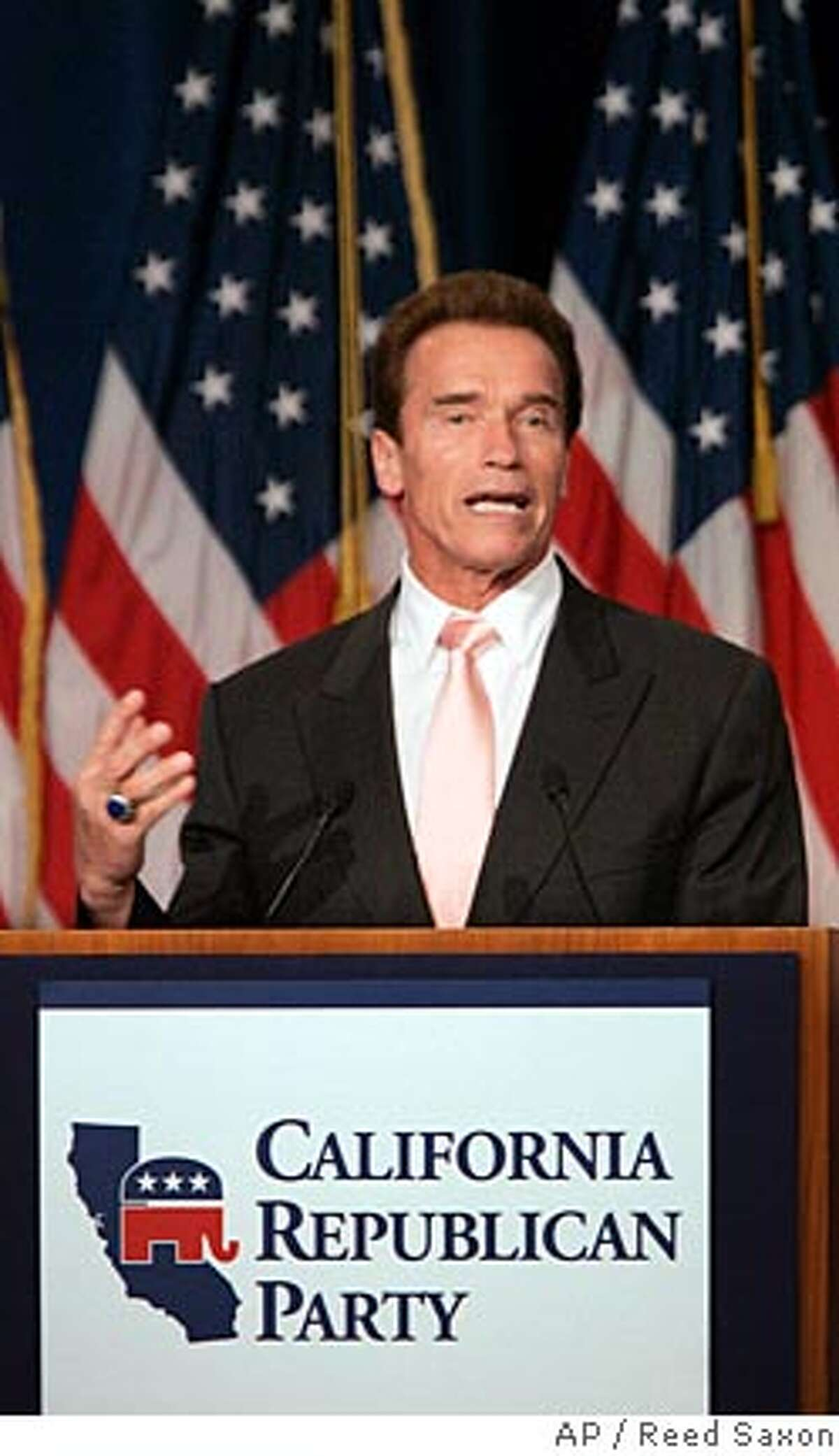 California Gov. Arnold Schwarzenegger speaks at the California Republican Party convention in Indian Wells, Calif., Friday, Sept. 7, 2007. (AP Photo/Reed Saxon)