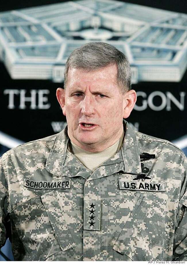 Army Chief of Staff Gen. Peter Schoomaker discusses Army force structure during a Department of Defense briefing, Thursday, Feb. 2, 2006, at the Pentagon in Washington. Schoomaker told reporters that if the Guard manages to grow above the 333,000 level, the Army will find the money elsewhere in its budget to pay for the extra soldiers. (AP Photo/Haraz N. Ghanbari) Photo: HARAZ N. GHANBARI
