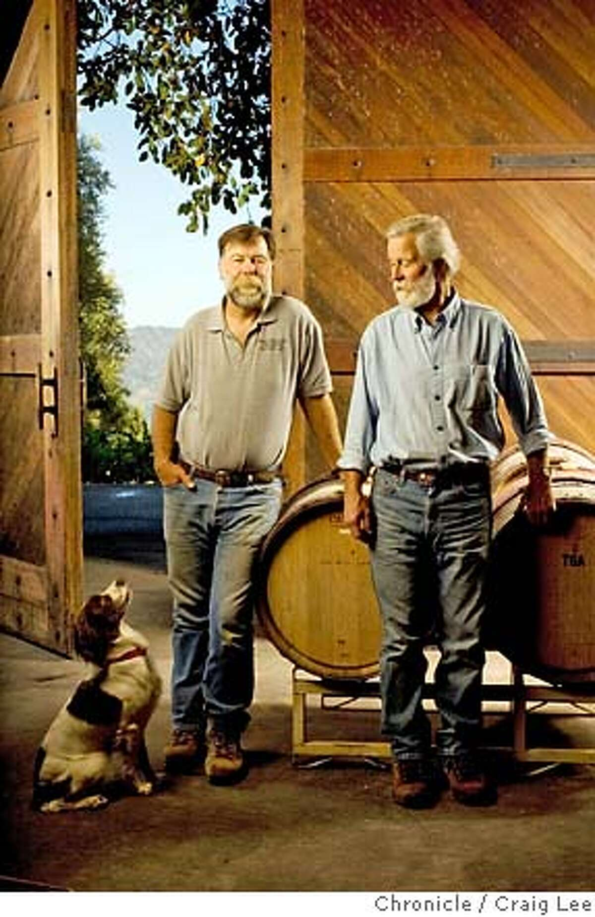 OTHERNAPA07_055_cl.jpg Story about Napa Valley wineries that have avoided the spotlight. This is Smith-Madrone winery in St. Helena. Photo of Stu Smith (left) and his brother, Charlie Smith (right) with their dog, Curly. on 8/29/07 in St. Helena. photo by Craig Lee / The Chronicle MANDATORY CREDIT FOR PHOTOG AND SF CHRONICLE/NO SALES-MAGS OUT