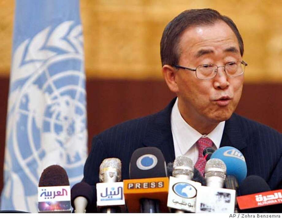 U.N. Secretary-General Ban Ki-moon responds questions from reporters during a news conference in Khartoum Thursday Sept. 6, 2007. Ban Ki-moon announced Thursday that new peace talks aimed at ending the 4-year regional conflict in Darfur will start Oct. 27 in Libya. (AP Photo / Zohra Bensemra, pool) POOL IMAGE Photo: ZOHRA BENSEMRA