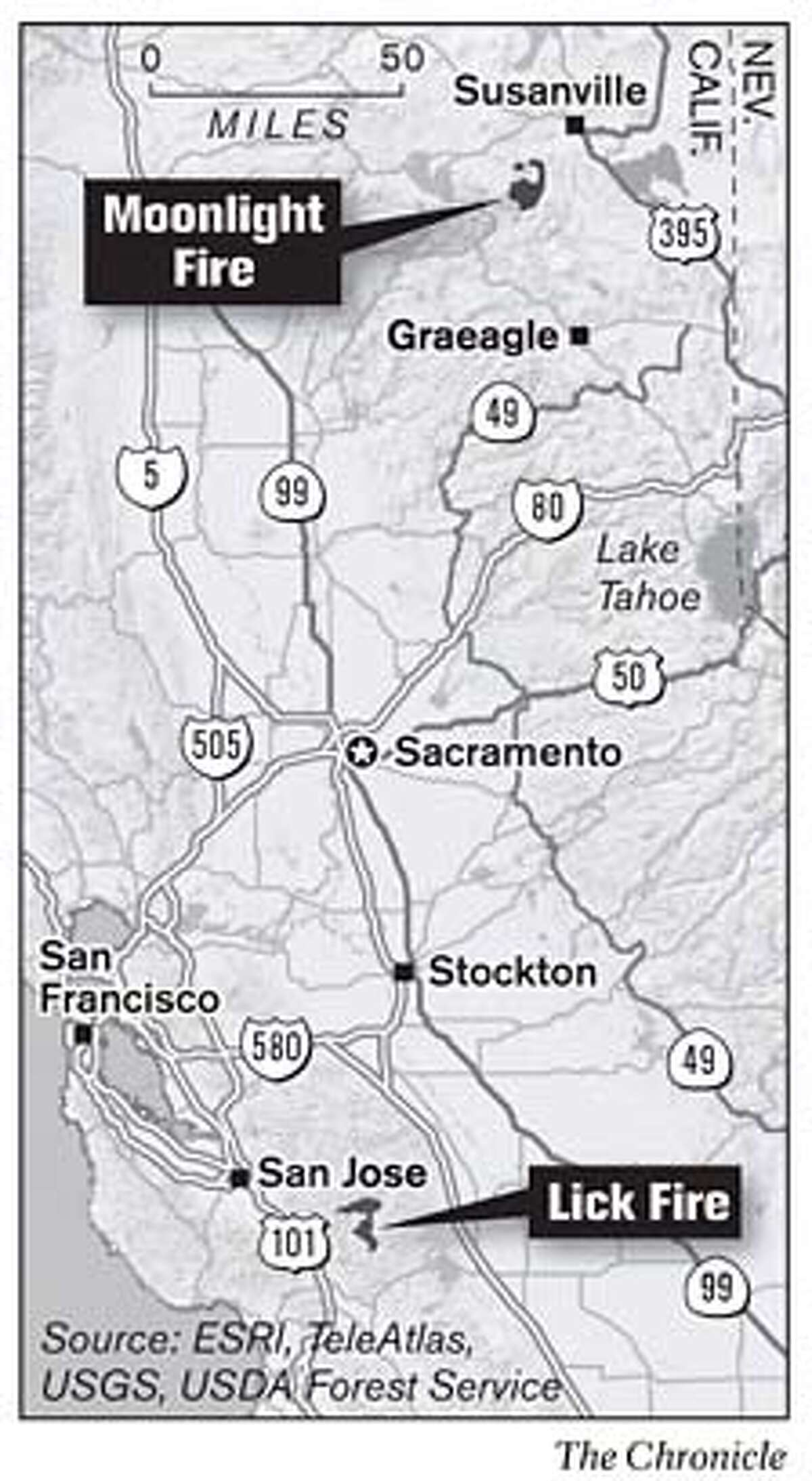 Bay Area Wildfires. Chronicle Graphic