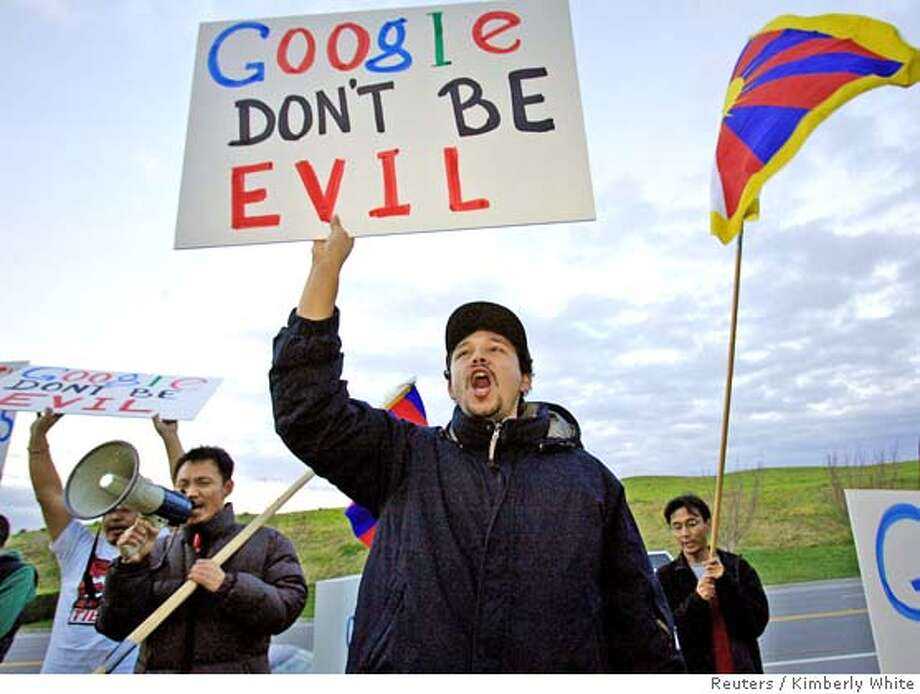 Students For A Free Tibet protest in front of Google's headquarters in Mountain View, California January 25, 2006. China's propaganda mandarins closed an outspoken supplement of a respected newspaper, as Web search leader Google announced restrictions on a new service for China to avoid confrontation with Beijing. REUTERS/Kimberly White 0 Photo: KIMBERLY WHITE