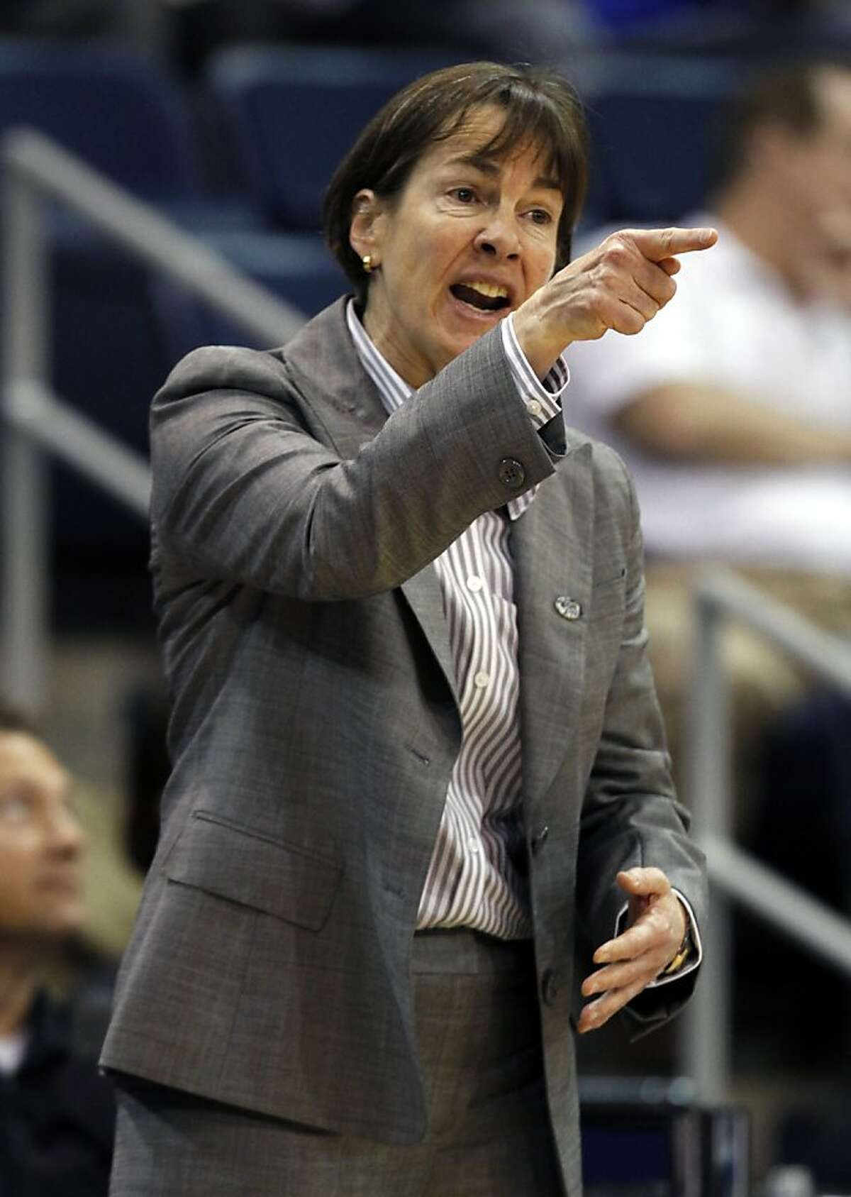 Stanford head coach Tara VanDerveer directs her team during the first half of a first-round NCAA tournament women's college basketball game, Saturday, March 17, 2012, in Norfolk, Va. West Virginia won 68-55.