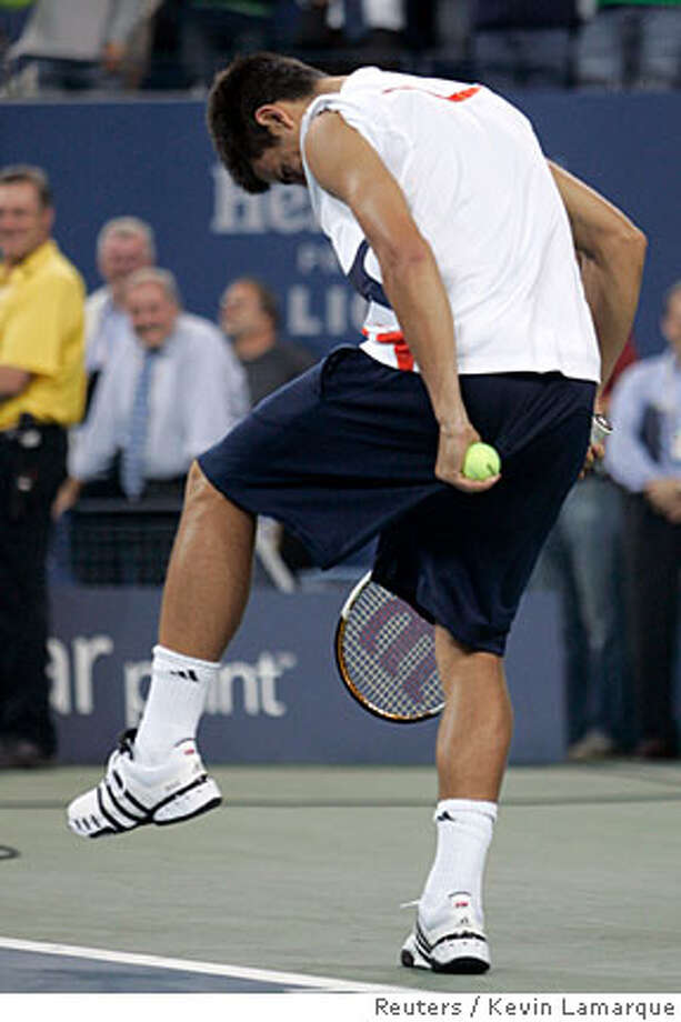 Novak Djokovic pulls his shorts down while doing an imitation Rafael Nadal after he won his match against Carlos Moya of Spain at the U.S. Open tennis tournament in Flushing Meadows, New York, September 6, 2007. REUTERS/Kevin Lamarque (UNITED STATES)  Ran on: 09-07-2007  Novak Djokovic pulls his shorts down while doing an imitation of Rafael Nadal after winning his match. Photo: KEVIN LAMARQUE