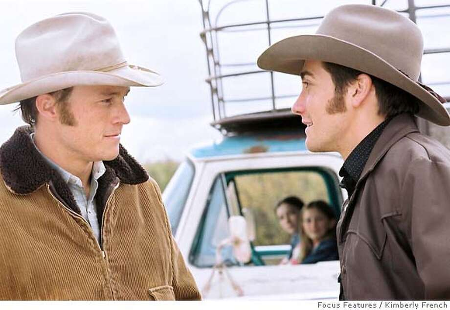 BROKEBACK08 Heath Ledger (left) and Jake Gyllenhaal (right) star in Ang Lee�s BROKEBACK MOUNTAIN, a Focus Features release. Photo: Kimberly French  Focus Features / Kimberly French  Ran on: 12-28-2005 Photo: Kimberly French