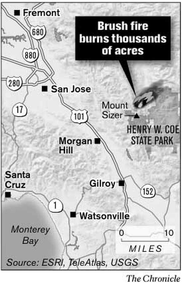 Brush Fire Burns Thousands of Acres. Chronicle Graphic