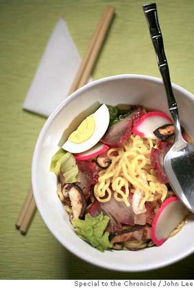 WORKING18_JOHNLEE.JPG  Saimin noodle soup.  By JOHN LEE/SPECIAL TO THE CHRONICLE  Ran on: 07-18-2007  Saimin combines Japanese, Chinese, Korean, Portuguese and American ingredients over noodles. Photo: John Lee