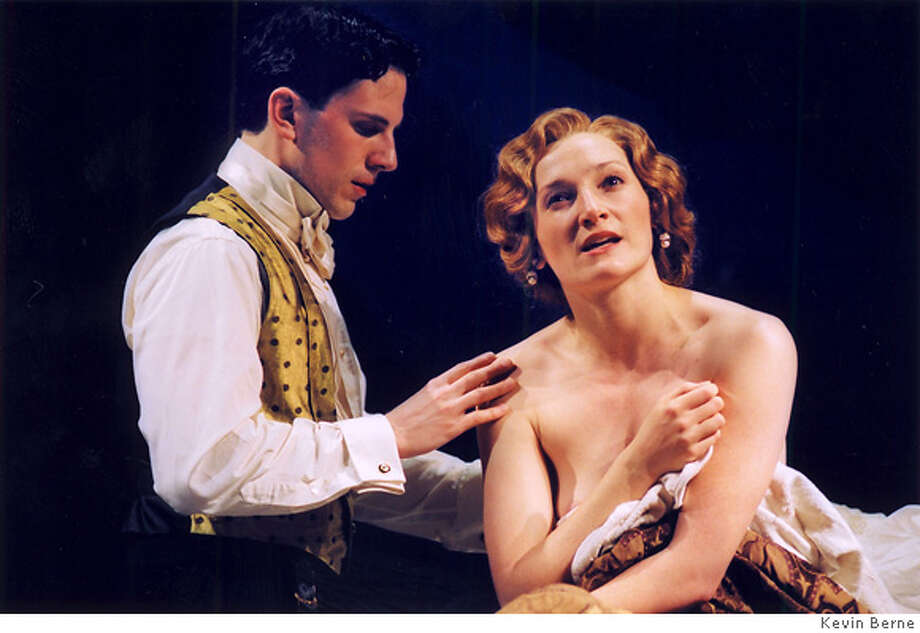 Fraulein 1: Michael Tisdale as Paul and Francesca Faridany as the title character in Faridany�s translation and adaptation of Fr�ulein Else, directed by Stephen Wadsworth at Berkeley Repertory Theatre (March 4 � 28, 2003). Photographer: Kevin Berne. Photo: KEVIN BERNE
