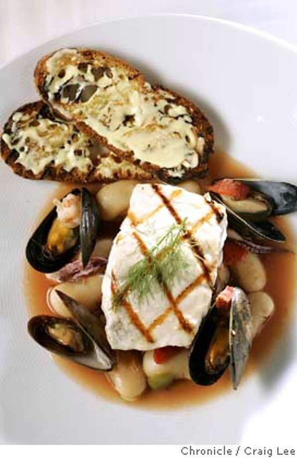 Signature dishes by the Rising Star chefs. Photo of the dish by Greg Dunmore at Ame restaurant, Grilled Grouper on shellfish ragu.  Event on 12/14/05 in San Francisco. Craig Lee / The Chronicle Photo: Craig Lee