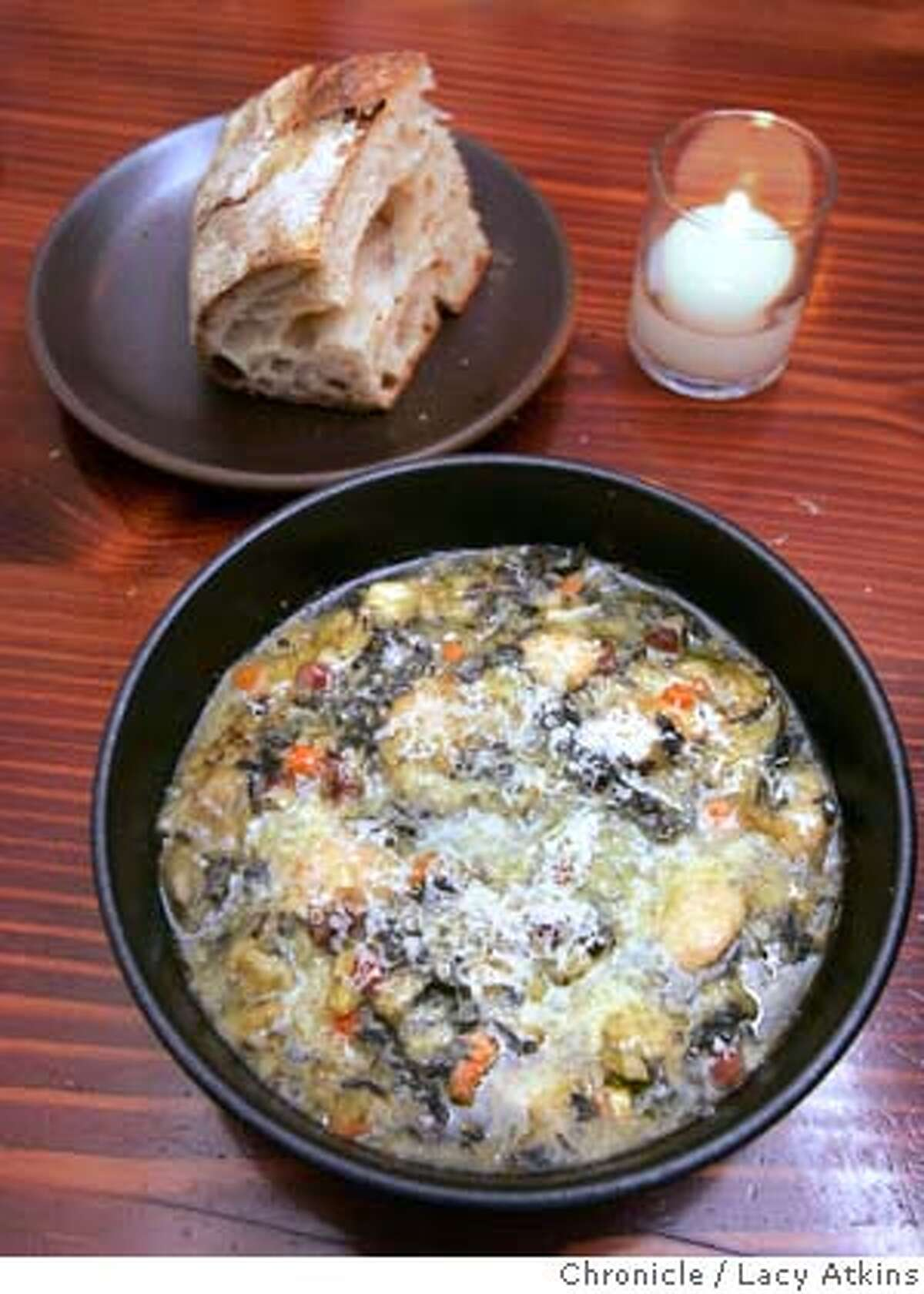 Soup from the pizzaiolo in Oakland, by chef Charlie Hallowell. This is actually slugged it is the final photograph to go with the rising stars issue of the chronicle magazine. we have photographed the chefs and by the time you reach this restraunt we will have photographed four of the five dishes. Dec.14, 2005 Photo By Lacy Atkins