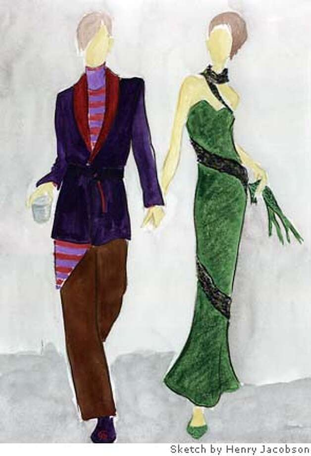 Henry Jacobson's shawl-collared jacket and pants with apron, and evening gown with beaded serpent inset. Sketch by Henry Jacobson