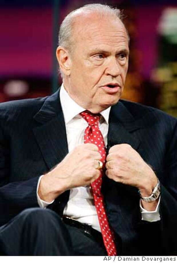 "Former Tennessee senator Fred Thompson announces he's formally joining the 2008 White House race during a taping of ""The Tonight Show with Jay Leno"" at NBC Studios in Burbank, Calif., Wednesday, Sept. 5, 2007. (AP Photo/Damian Dovarganes) Photo: Damian Dovarganes"