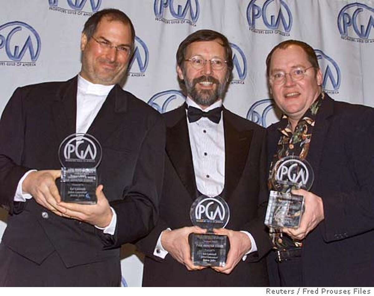 File photo of Jobs posing with Catmull and Lasseter in Los Angeles