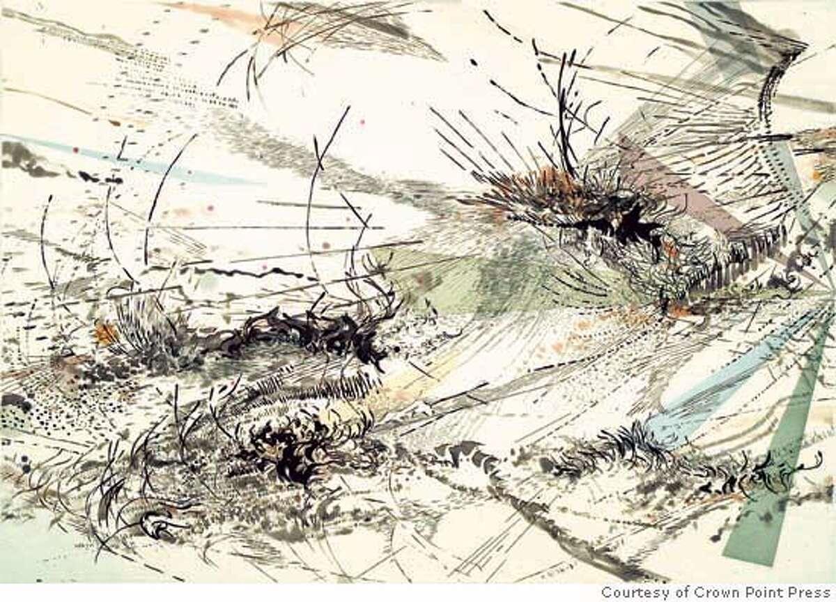 """Diffraction"" (2005) Intaglio print by Julie Mehretu Courtesy of Crown Point Press, San Francisco"