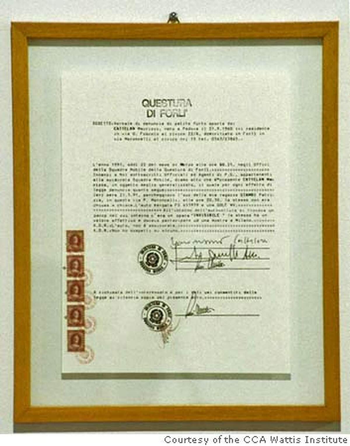 """""""Denuncia"""" (1991) police report generated by Mauricio Cattelan. Courtesy of the CCA Wattis Institute, San Francisco"""