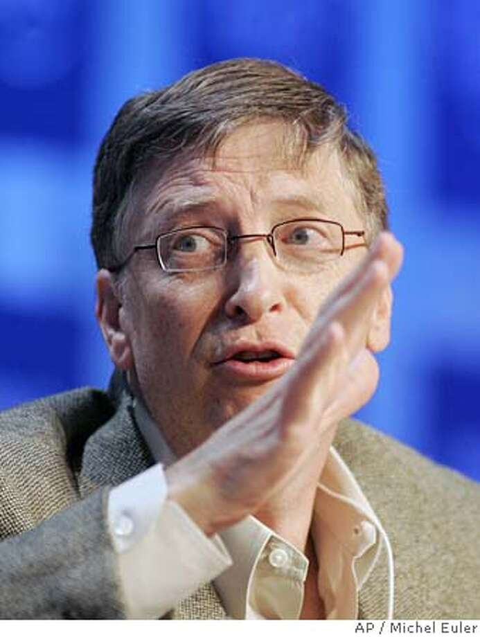 Chairman of Microsoft Corporation Bill Gates gestures while speaking during a plenary entitled 'Not Gone, but Almost Forgotten' at the World Economic Forum in Davos, Switzerland, Friday Jan. 27, 2006. Gates said Friday that his charitable foundation will triple its funding for tuberculosis eradication from US$300 million to US$900 million by 2015. (AP Photo/Michel Euler) Ran on: 01-28-2006  Bill Gates announced that his foundation will give $900 million to eradicate tuberculosis. Photo: MICHEL EULER