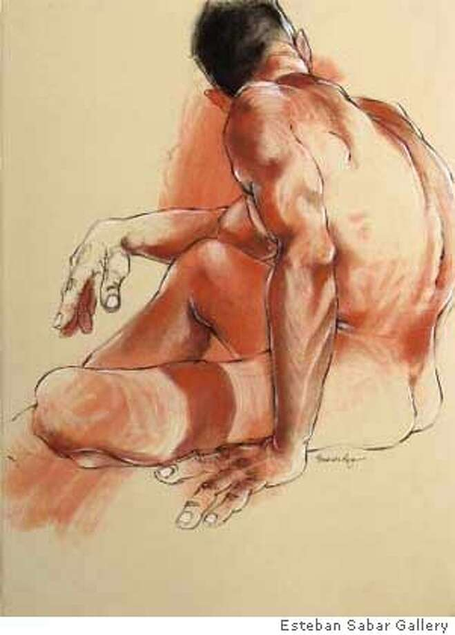 """Curious Glance,'' by Fernando Reyes. charcoal and conte on paper 2007 Photo: Courtesy Estaban Sabar Gallery"