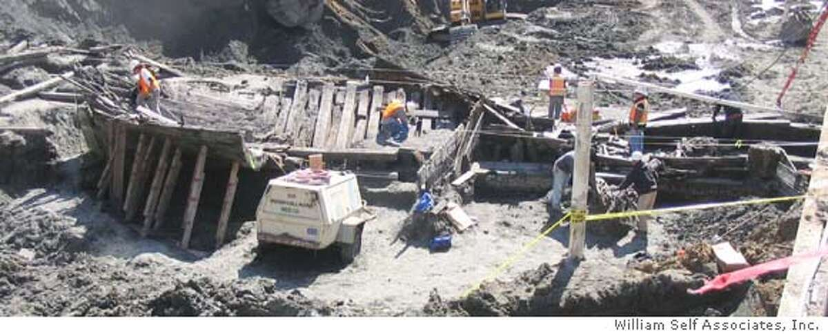 At a construction site at the corner of Folsom and Spear Street in downtown San Francisco, workers have discovered the stern of what looks like a Gold Rush era ship buried in the dirt. They have begun uncovering the vessel. Credit: Courtesy of William Self Associates, Inc.