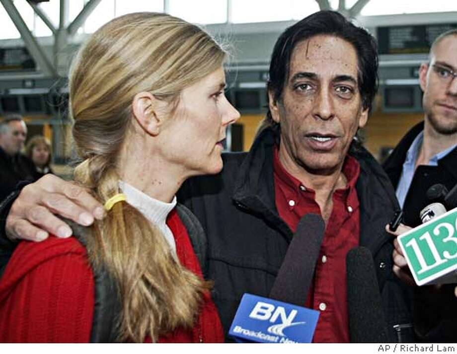 Medicinal Marijuana crusader Steve Kubby speaks to the media with his wife Michele at the Vancouver International Airport in Richmond, Canada, prior to boarding a flight for San Francisco, Thursday, Jan. 26, 2006. Steve Kubby is being deported after losing his refugee application to stay in Canada. (AP Photo/CP, Richard Lam) Photo: RICHARD LAM