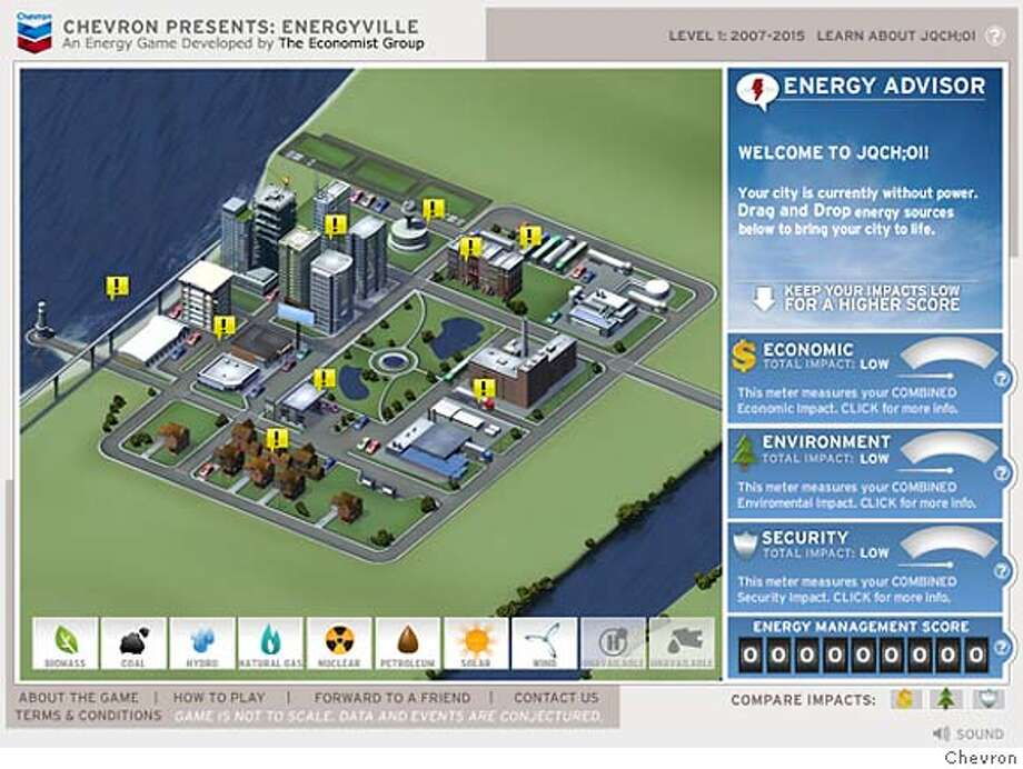 screenshot from chevron's online game energyville Photo: Chevron