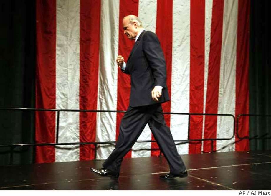 Republican presidential hopeful, former Sen. Fred Thompson R-Tenn., leaves the stage after speaking at the Midwest Republican Leadership Conference in Indianapolis, Saturday, Aug. 25, 2007. (AP Photo/AJ Mast) Photo: AJ Mast