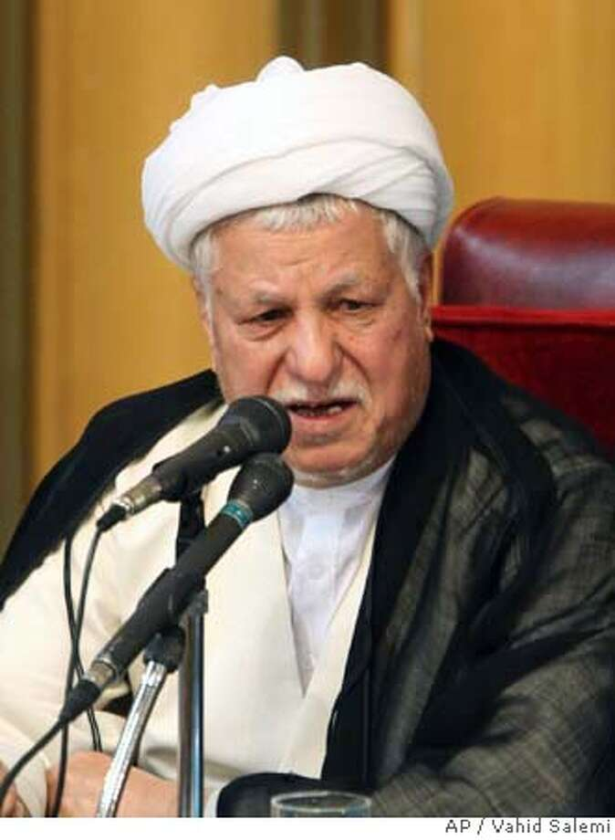 Akbar Hashemi Rafsanjani, head of Iran's Assembly of Experts, a body of 86 senior clerics charged with monitoring Supreme Leader Ayatollah Ali Khamenei and choosing his successor, delivers a speech during a session of the assembly, in Tehran, Iran, Tuesday, Sept. 4, 2007. Former president Hashemi Rafsanjani was picked Tuesday as head of a powerful clerical body empowered with choosing or dismissing Iran's supreme leader, state-run television reported. (AP Photo/Vahid Salemi) Photo: VAHID SALEMI