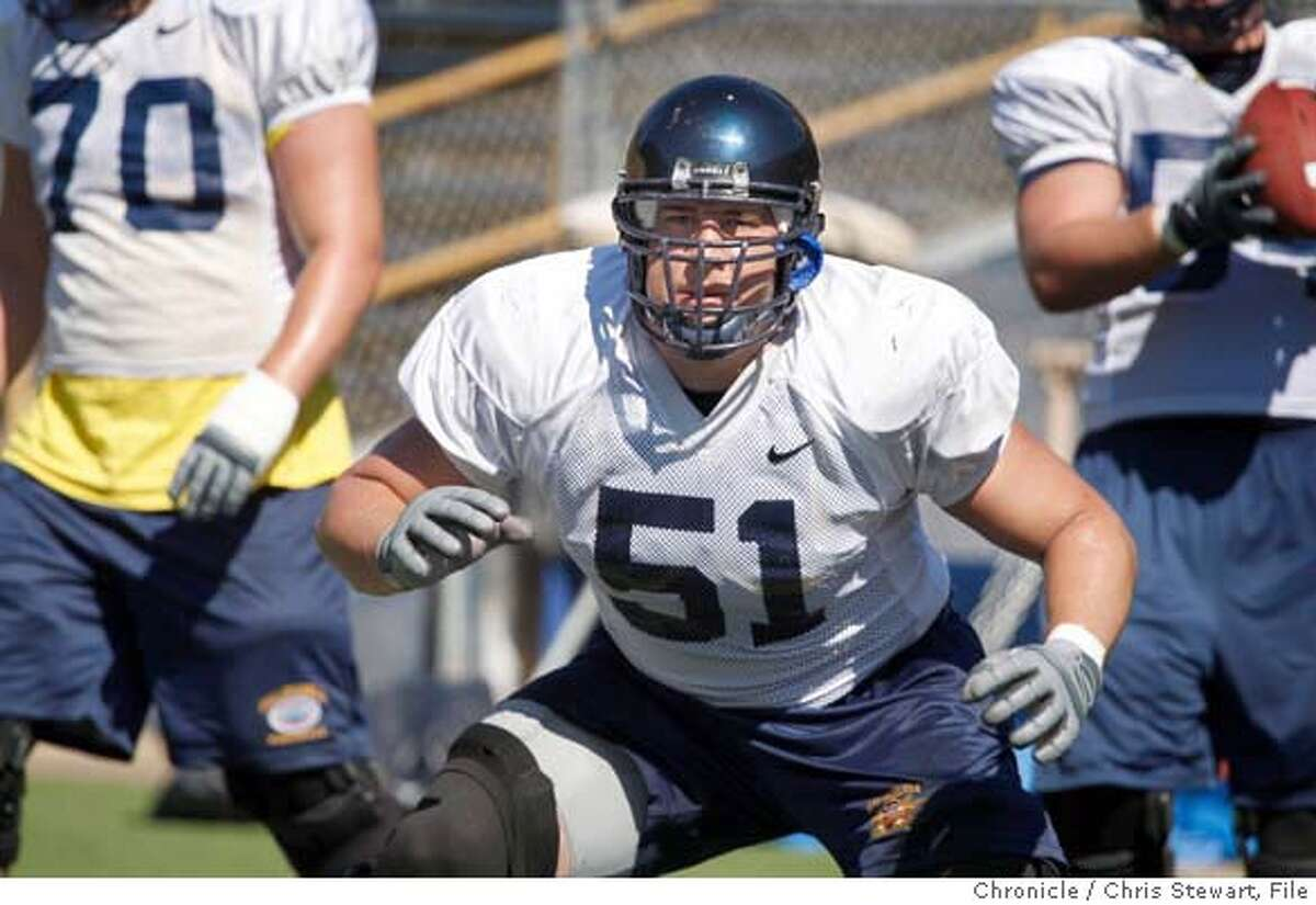 CAL_FOOTBALL_0151_cs.jpg Event on 8/9/07 in Berkeley Outside linebacker Alex Mack (cq) drills during a Cal Berkeley football team practice at Memorial Stadium. Photographed August 9, 2007 Chris Stewart / The Chronicle Cal Berkeley football, Alex Mack MANDATORY CREDIT FOR PHOTOG AND SF CHRONICLE/NO SALES-MAGS OUT