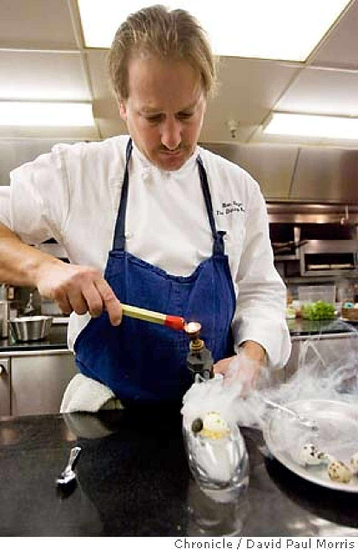 SAN FRANCISCO, CA - AUGUST 24: A 64 C degree Quail Egg with golden Osetra Caviar, crouton smoked with cedar smoke made by Executive Chef Ron Siegel is seen at the Ritz Carlton on August 24, 2007 in San Francisco, California. (Photo by David Paul Morris/The Chronicle)