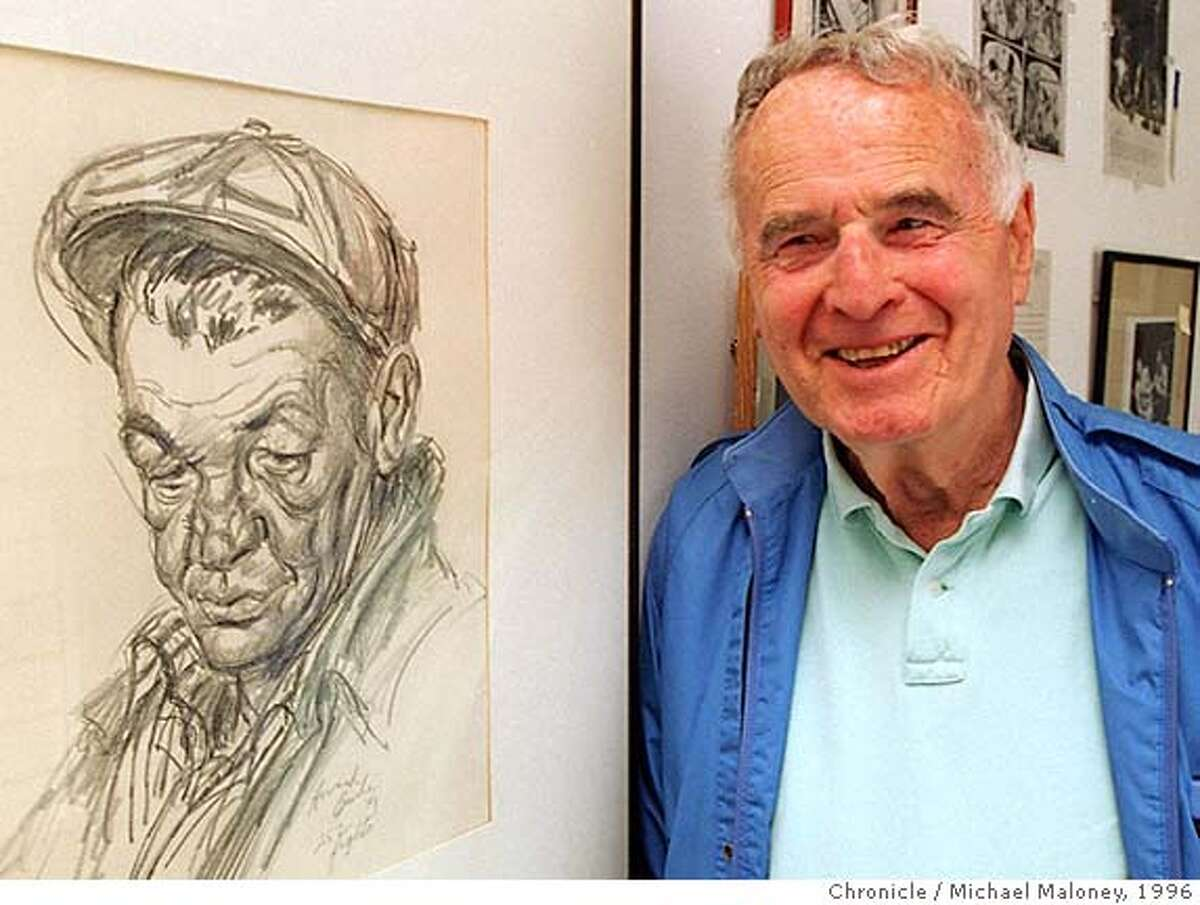 BOX EXHIBIT 1/C/30AUG96/SP/MJM Jack Fiske posed next to a Howard Brodie 1949 drawing titled