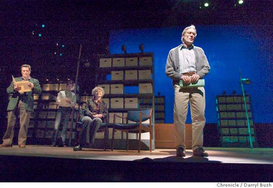 "jonestown22_079_db.jpg  James Carpenter, right, plays one of several characters at the rehearsal of play ""The People's Temple"" at Berkeley Repertory Theatre.  Event on 4/13/05 in Berkeley.  Darryl Bush / The Chronicle MANDATORY CREDIT FOR PHOTOG AND SF CHRONICLE/ -MAGS OUT Photo: Darryl Bush"