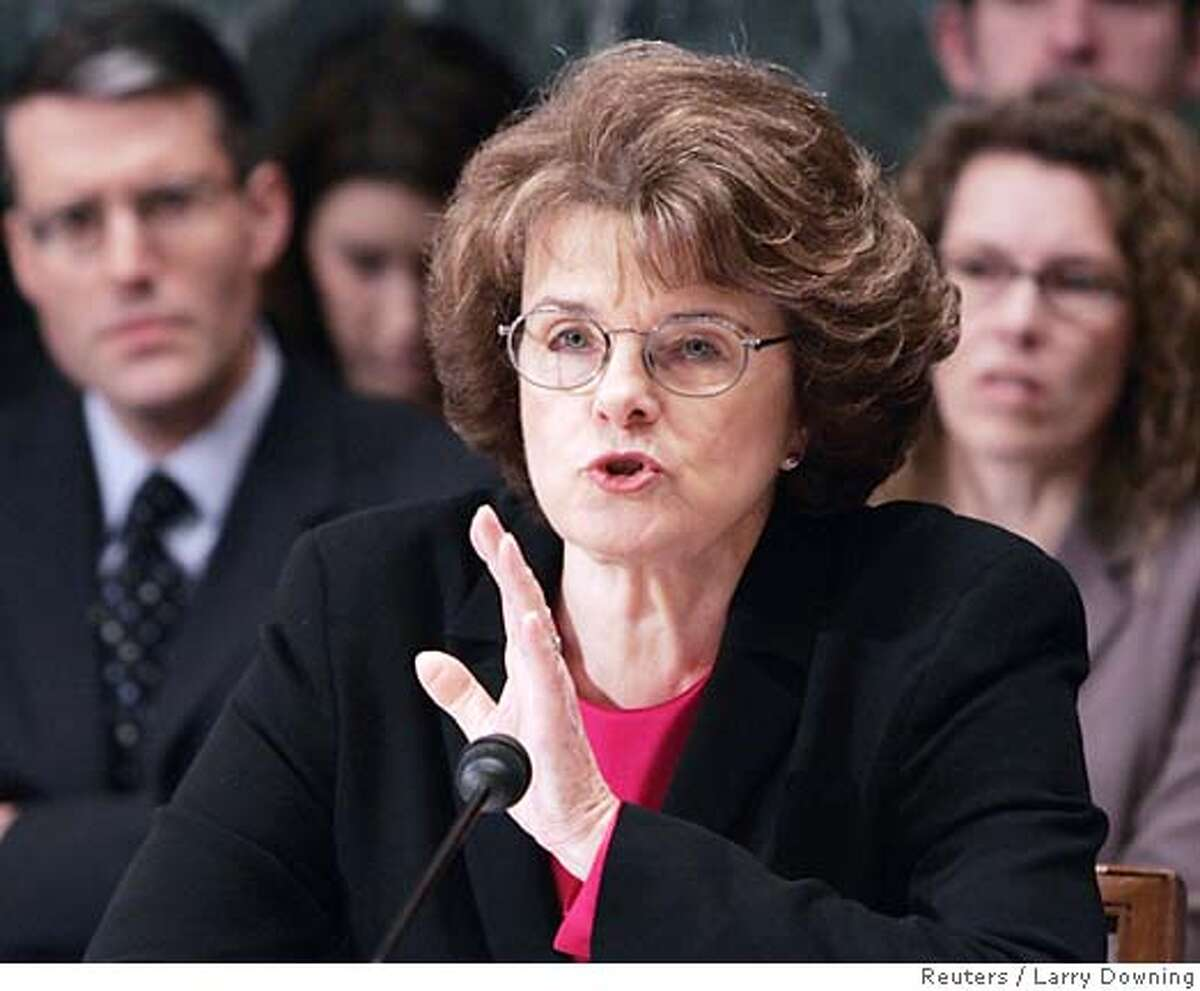 U.S. Senator Dianne Feinstein (D-CA) announces she would vote against the nomination of Samuel Alito for Associate Justice of the Supreme Court before a full committee vote on Capitol Hill January 24, 2006. The committee is expected to vote in favor of Alito and send his nomination to the floor of the U.S. Senate for a full vote. REUTERS/Larry Downing