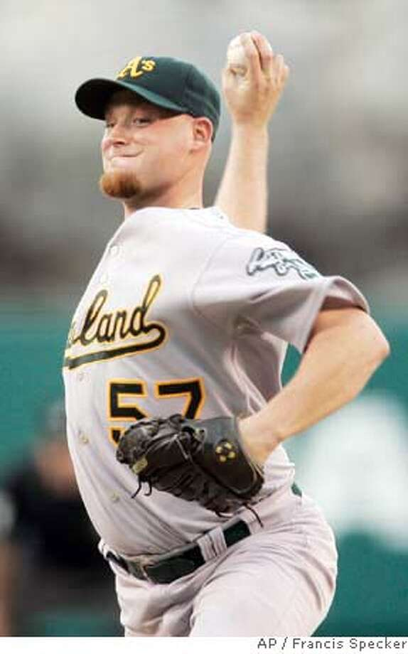 Oakland Athletics' Chad Gaudin pitches against the Los Angeles Angels during the first inning of a baseball game in Anaheim, Calif., on Monday, Sept. 3, 2007. (AP Photo/Francis Specker) Photo: Francis Specker