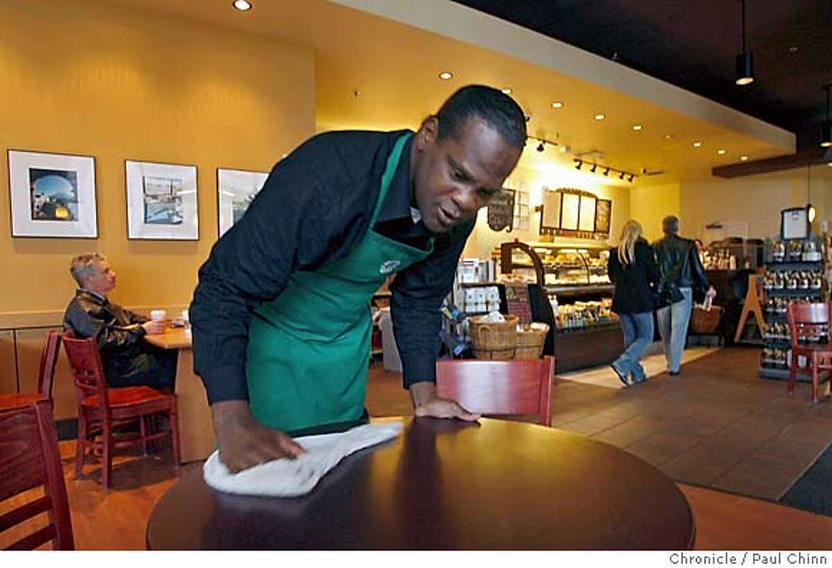 courtxx_141_pc.jpg Derick Dawson works his shift as a busboy at a South of Market Starbucks in San Francisco, Calif. on 1/21/06. Dawson is a graduate of the city's Behavioral Health Court, part of a new wave in American justice, called