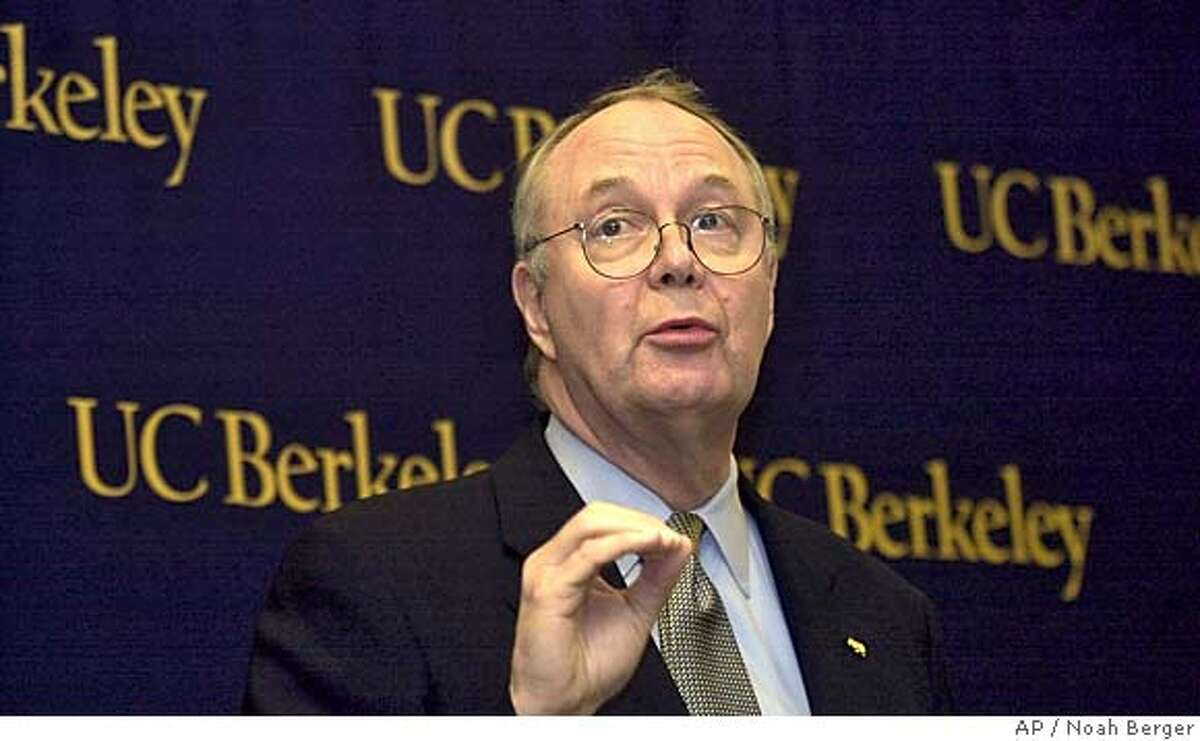 Robert Berdahl, chancellor of the University of California at Berkeley, speaks during a press conference Saturday, May 10, 2003, in Berkeley, Calif. Berdahl announced that the university is easing restrictions on enrolling summer session students from countries affected by SARS. (AP Photo/Noah Berger)