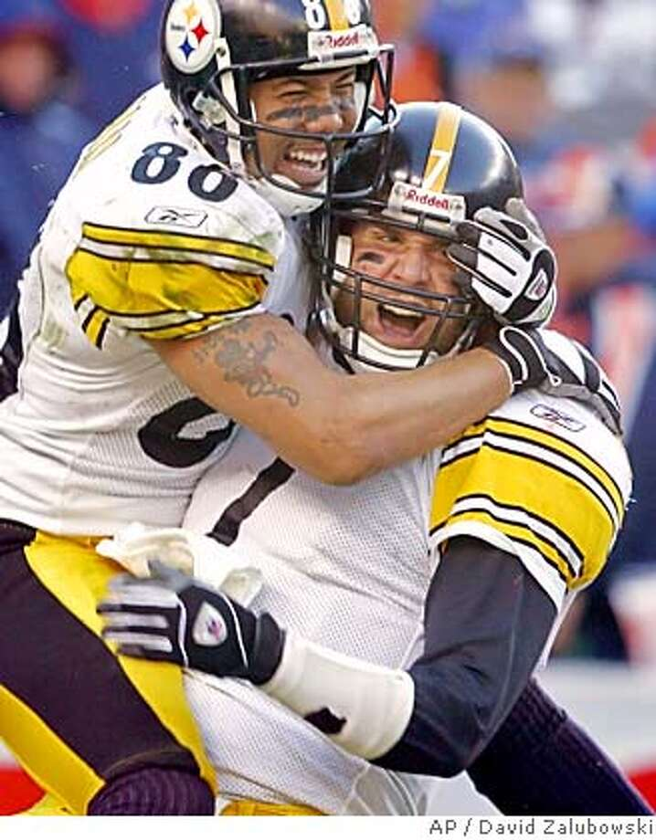 Pittsburgh Steelers quarterback Ben Roethlisberger (7) celebrates his 4-yard fourth quarter touchdown run with receiver Hines Ward in AFC Championship football game agianst the Denver Broncos Sunday, Jan. 22, 2006, in Denver. The Steelers advance to Super Bowl XL with a 34-17 win over Denver. (AP Photo/David Zalubowski) Photo: DAVID ZALUBOWSKI