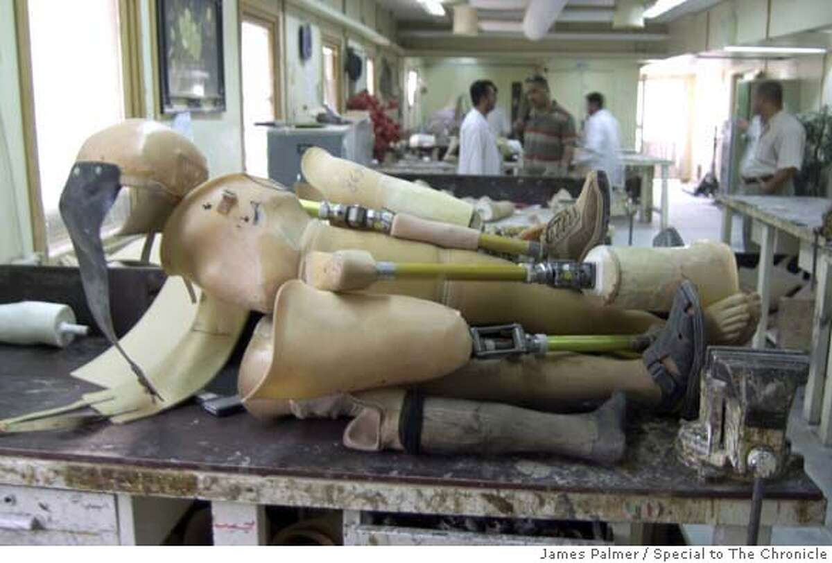 A pile of prostheses inside the workshop of the Center for Artifical Limbs in Baghdad, Iraq, on May 27, 2007. The center was constructed in 1982 and run by Iraq's defense ministry strictly serving military personnel. During that period technicians at the center produced 500 prostheses yearly. Since opening to civilians on April 20, 2003, the center has manufactured up to 1,200 artificial limbs per year. The center was operated independently for the last eight months of 2003 and the staff worked without salary until the country's health ministry assumed control in January 2004. James Palmer / Special to The Chronicle MANDATORY CREDIT FOR PHOTOG AND SAN FRANCISCO CHRONICLE/NO SALES-MAGS OUT