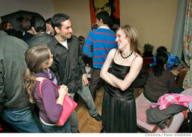 Alicia talks with friends Alice Potter and Ryan Traughder. Alicia Parlette at her birthday party. She turned 24 just days before.  Photo by Penni Gladstone/The San Francisco Chronicle  Photo taken on 1/13/06, in San Francisco, CA.