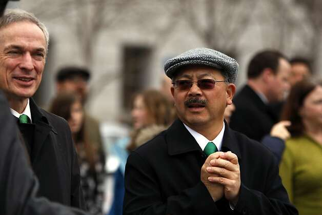 San Francisco Mayor Ed Lee walks during the St. Patrick's Day Parade on Market Street in San Francisco, Ca on March 17, 2012. Photo: Siana Hristova, The Chronicle