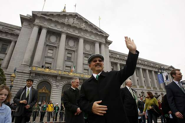 San Francisco Mayor Ed Lee greets spectators of the St. Patrick's Day Parade in front of City Hall, San Francisco, Ca on March 17, 2012. Photo: Siana Hristova, The Chronicle