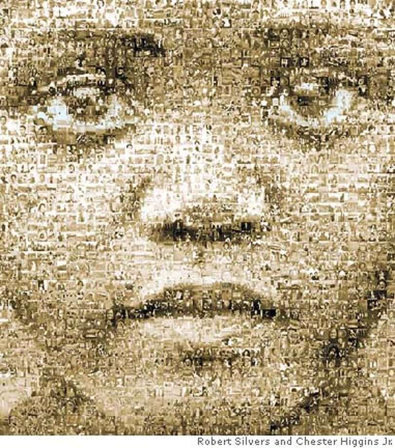 """Face of the African Diaspora,� a mural by Robert Silvers using 2,700 photographs based on an image by Chester Higgins Jr."