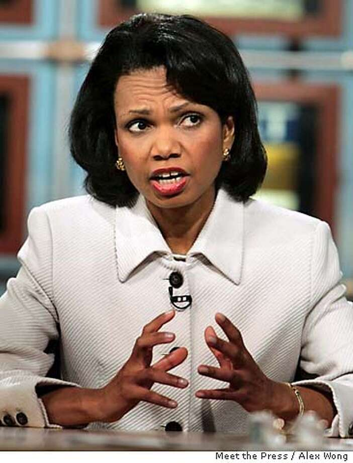 "U.S. Secretary of State Condoleezza Rice speaks during a taping of NBC's ""Meet the Press"" at the NBC studios Sunday, Dec. 18, 2005, in Washington. Rice spoke about the Iraqi elections and U.S. troops in Iraq, and said Sunday that public disclosure of surveillance programs used to wage the war on terror damages those efforts. (AP Photo/NBC Meet the Press, Mark Wilson) ** MANDATORY CREDIT NO ARCHIVES ** Ran on: 12-19-2005  Condoleezza Rice says the counterterrorism program is necessary to close gaps. Ran on: 12-19-2005  Condoleezza Rice says the counterterrorism program is necessary to close gaps. NO ARCHIVE MUST USE BEFORE DECEMBER 25, 2005 MANDATORY CREDIT: MEET THE PRESS, ALEX WONG Photo: MARK WILSON"