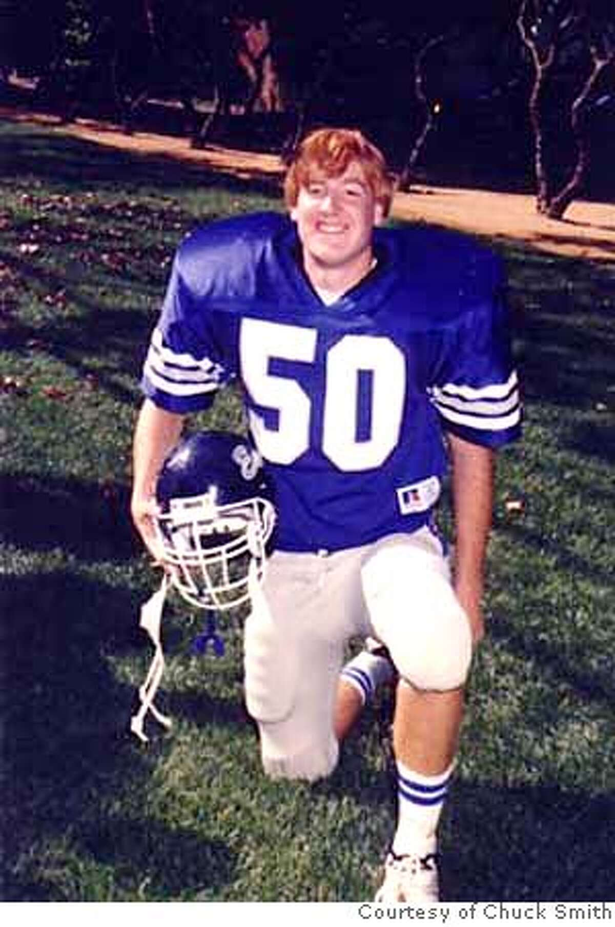 Capt. Sargent Binkley as a football player in high school. Picture is from August of 1992. Booking mug for Capt. Sargent Binkley. Binkley, a former Army Ranger from Los Altos, faces a lengthy prison sentence for robbing two pharmacies of drugs at gunpoint in 2006. Photos Courtesy of Chuck Smith MANDATORY CREDIT FOR PHOTOG AND SAN FRANCISCO CHRONICLE/NO SALES-MAGS OUT