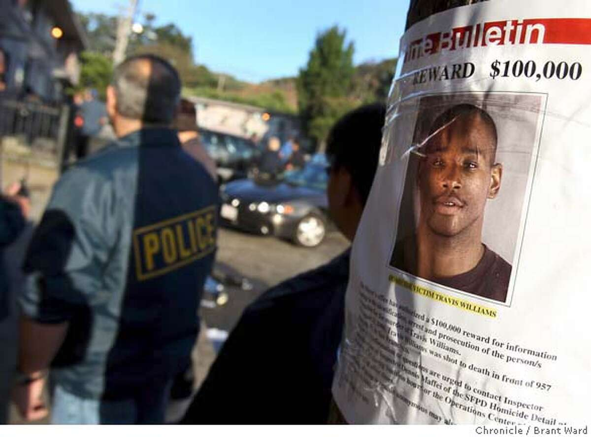 badge_gangtaskforce_286.JPG Reward posters at the Alemany housing project asking for help in a recent homocide were right outside the raid area Wednesday. At San Francisco's Alemany public housing project, members of the Gang Task Force raided several homes with search warrants hoping to capture parole violators and stem the recent violence occurring in the neighborhood. {By Brant Ward/San Francisco Chronicle}8/29/07