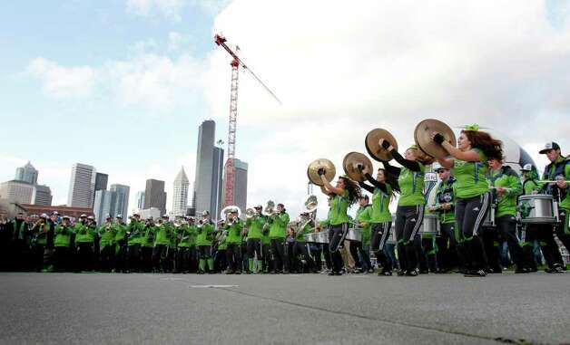 Sound Wave, the Seattle Sounders band, plays during the Seattle Sounders MLS season opener against Toronto FC on Saturday, March 17, 2012 at CenturyLink Field in Seattle. Photo: JOE DYER / SEATTLEPI.COM