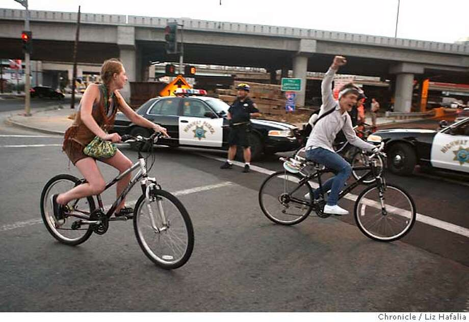 Critical Mass tries getting on 5th street onramp. Caltrans shuts down the Bay Bridge until Tuesday morning for a major retrofitting project on the east end of Yerba Buena Island.  Liz Hafalia/The Chronicle/BERKELEY/9/1/07  ** cq Photo: Liz Hafalia