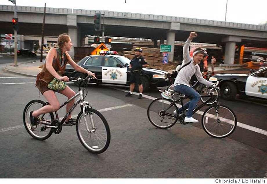 Critical Mass tries getting on 5th street onramp. Caltrans shuts down the Bay Bridge until Tuesday morning for a major retrofitting project on the east end of Yerba Buena Island.  Liz Hafalia/The Chronicle/BERKELEY/9/1/07  ** cq Photo: Liz Hafalia
